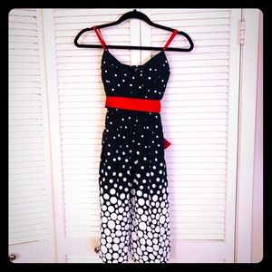 🌸NEW🌸EUC TRIXXI pinup polka dot dress w/red sash